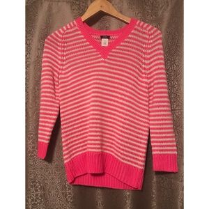 J. Crew Hot Pink and White V-neck Sweater Size XS